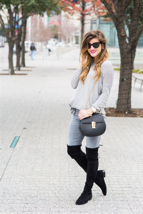 Grey on grey outfit + lowland over the knee boots