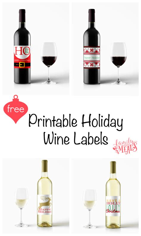 printable holiday wine labels family fresh meals