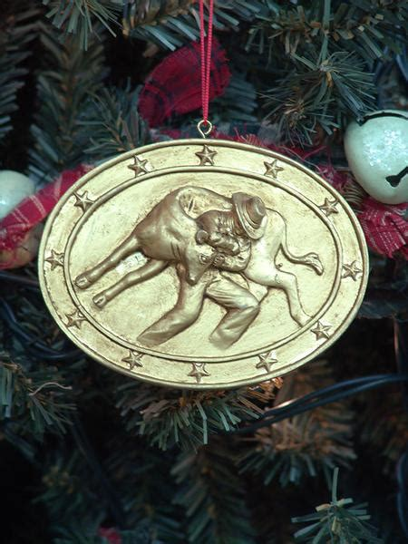 calf roping medallion christmas ornament  buffalo