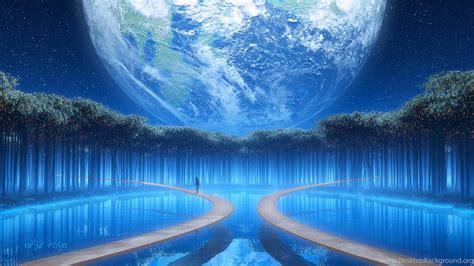 earth fantasy girl woman tree blue beautiful water