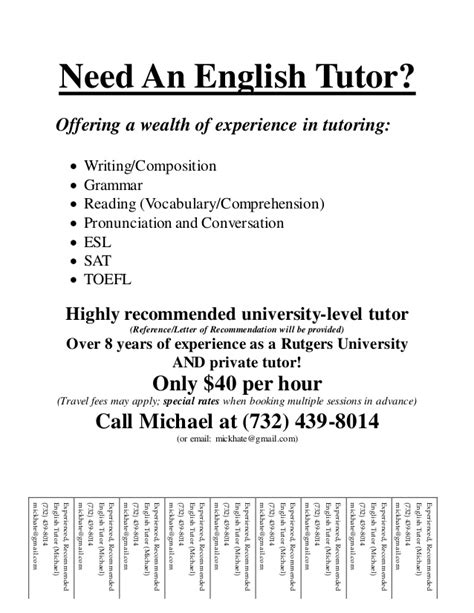 Need An English Tutor