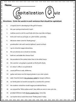 free capitalization practice language arts 2nd grade