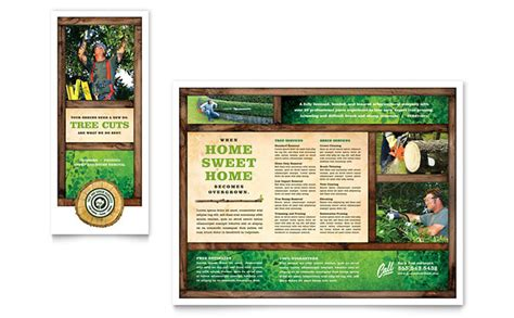 trifold poster template free publisher tree service tri fold brochure template design