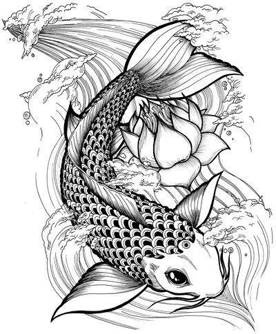 black ink koi fish  lotus tattoo design