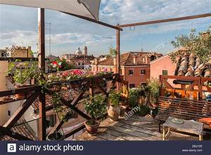 Venice, Italy. An 'altana', a traditional wooden structure ...