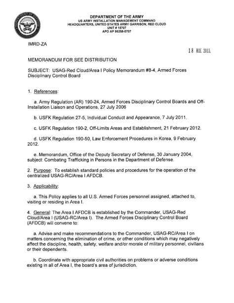 USAG RC Command Policy Memorandum #8-4 Armed Forces
