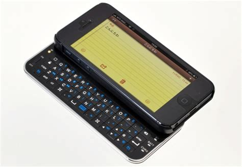 smartphone with slide out keyboard slide out bluetooth keyboard turns iphone 5 into