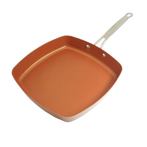 stick copper square pan  ceramic frying red pans copper oven dishwasher chef square
