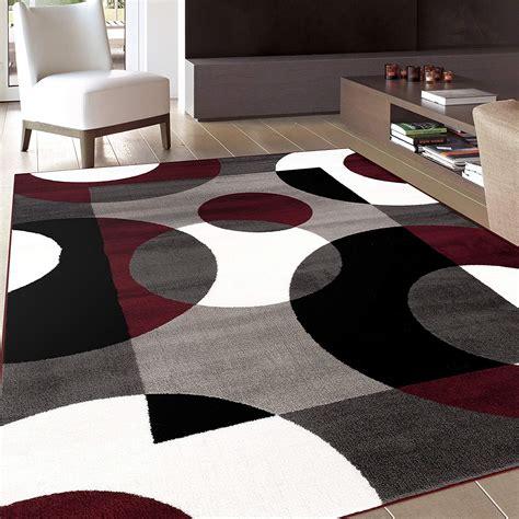 Living Room With Burgundy Rug by Area Rug Designer Carpet Modern Circles Rug Living Room