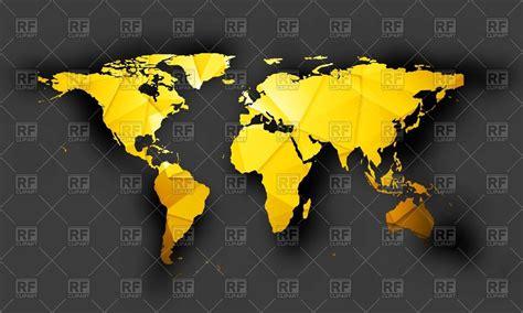 bright orange polygonal world map vector image