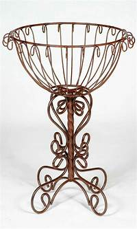 wrought iron plant stands Rustic Wrought Iron Trunk Colum Plant Stand Metal Planters ...