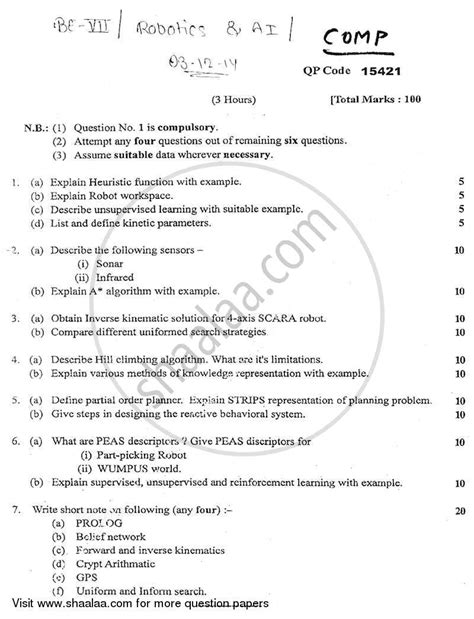 Question Paper - Robotics and Artificial Intelligence 2014