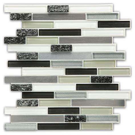 peel and stick glass and and metal mosaic wall tile