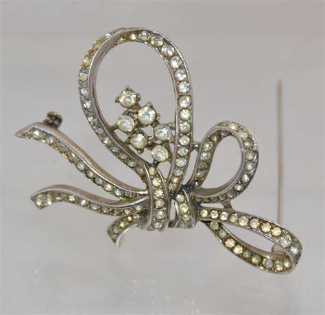 vintage trifari sterling ribbon brooch pin costume jewelry