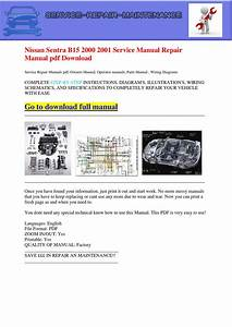 Nissan Sentra B15 2000 2001 Service Manual Repair Manual