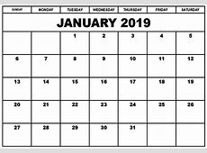 January 2019 Calendar Fillable Calendar Template Letter