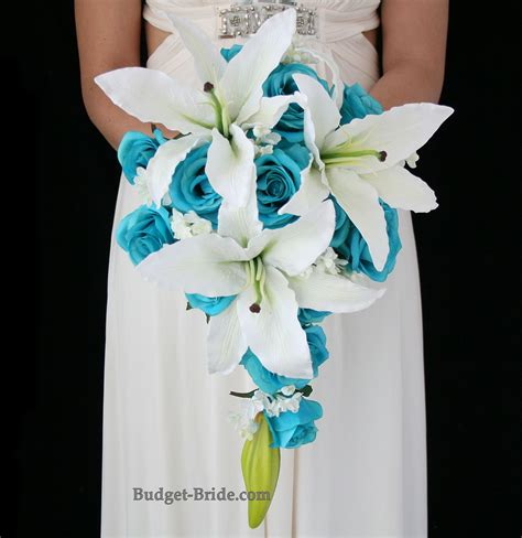 turquoise roses  beautiful white casablanca lilies