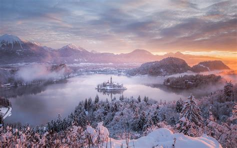 natural images hd p   snowy condition  bled lake hd wallpapers wallpapers  high resolution wallpapers