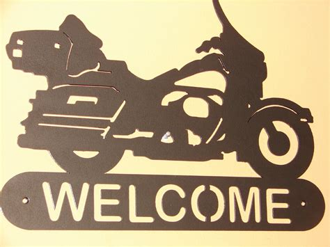 Harley Davidson Signs Decor by Motorcycle Dressed Harley Davidson Welcome Plaque
