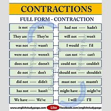 List Of Contractions In English  English Study Page  English  English Language Learning