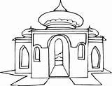 Mosque Drawing Masjid Coloring Gambar Getdrawings sketch template