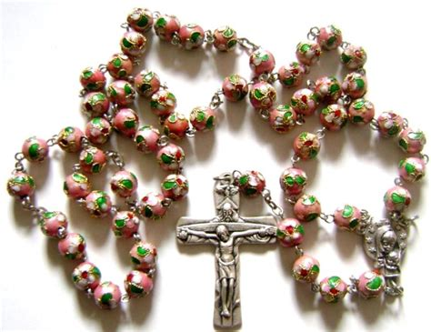 pink cloisonne rose beads rosary cross necklace crucifix