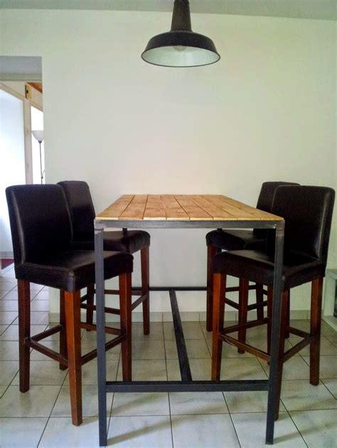 vernis table cuisine table haute fabrication artisanale cadre en acier brut