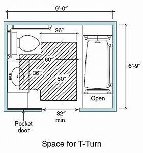 Accessible living bathroom wheelchair clearance t turn for Bathroom construction plans