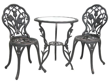 patio furniture bistro set cast aluminum iron tulip