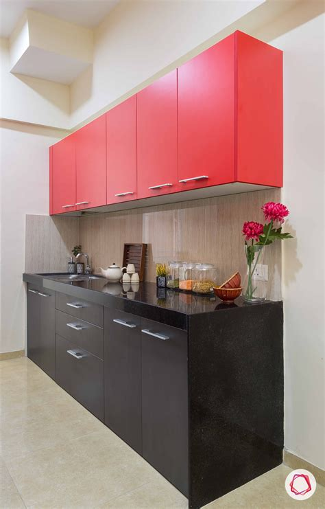 Modular Kitchen In Pop Colors Black, Red And A Beige