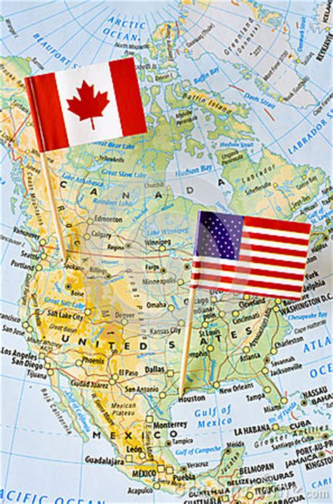 canada  usa flag pin  map stock photo image