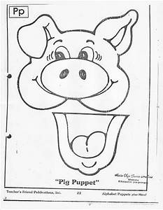 146 best titeres images on pinterest paper bag puppets With pig puppet template