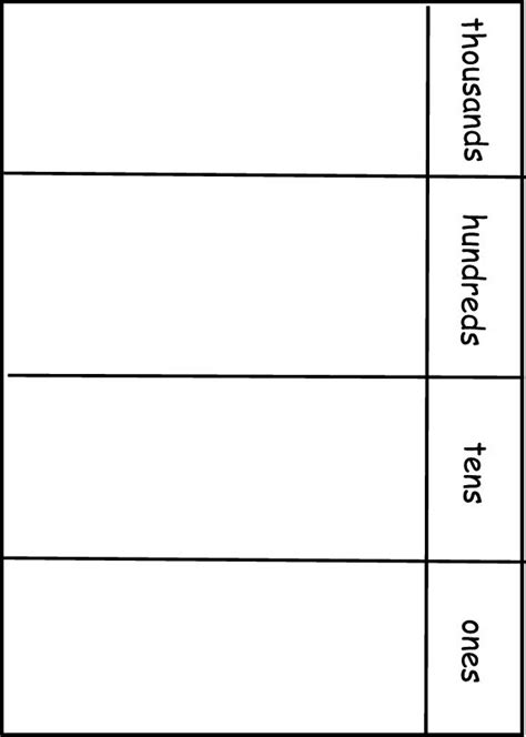 Blank Place Value Chart Printable - Printable Pages