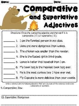comparative and superlative adjectives worksheet l3 1g by