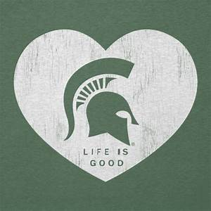 Women's Michigan State Heart Long Sleeve Cool Vee