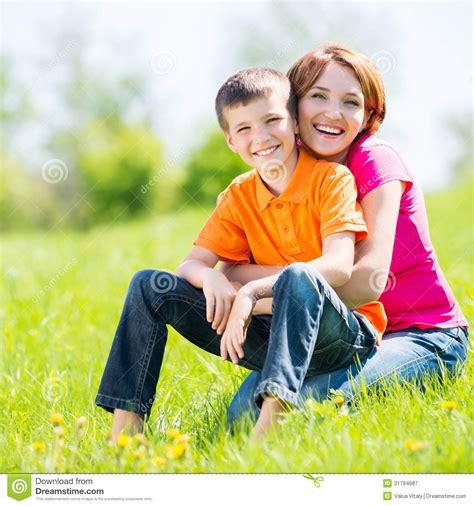 happy mother  son outdoor portrait royalty  stock