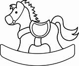 Horse Rocking Coloring Clipart Clip Computer 1004 sketch template