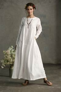 white dress maxi linen dress drop shoulder sleeve dress With loose fitting wedding dresses