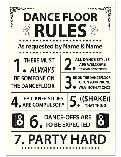 Rules Dance Floor Sign Ivory Signs Poster