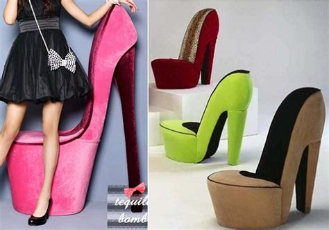 sit comfortably in these high heeled stiletto shoe chairs