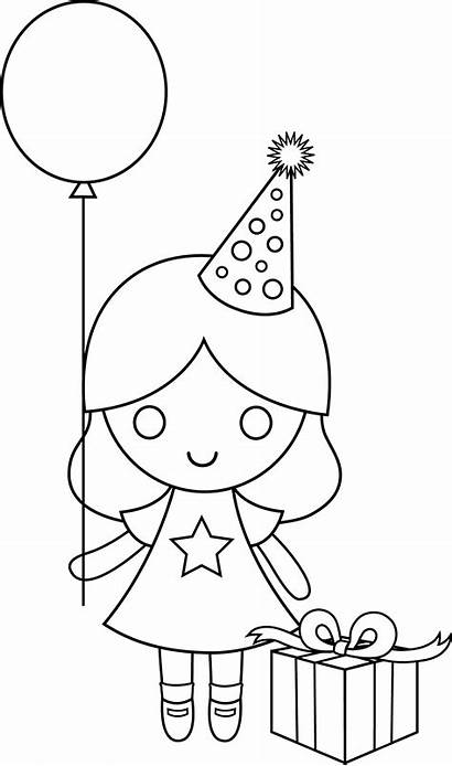 Coloring Birthday Drawing Pages Happy Drawings Clip