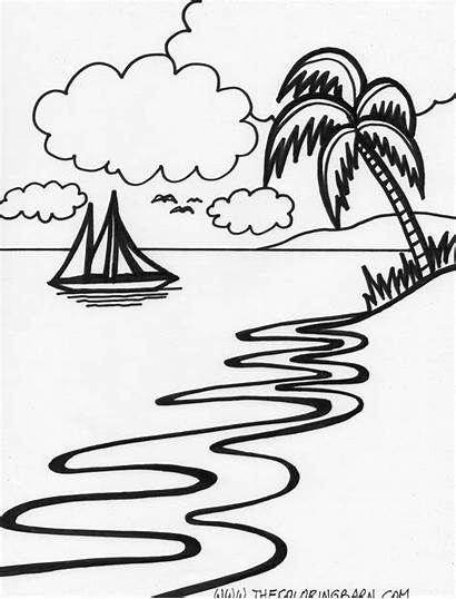 Sunset Coloring Pages Island Beach Drawing Tropical