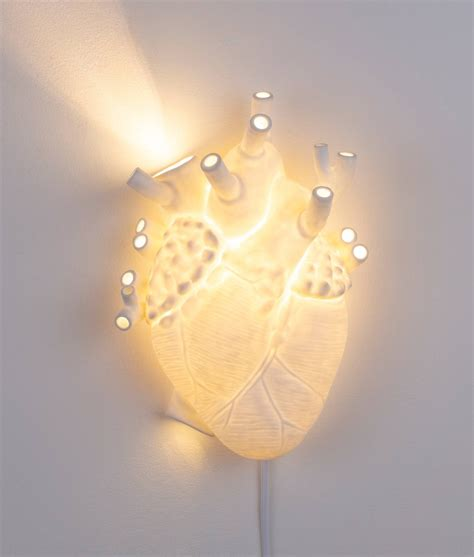 seletti heart wall light in white with 3 plug