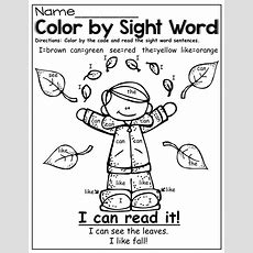 Color By Sight Word (fall Style!)  Title 1 Reading )  Sight Word Coloring, Sight Words