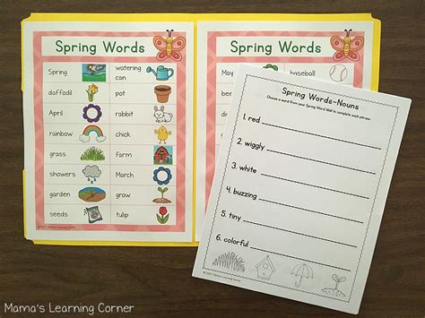 spring file folder word wall mamas learning corner