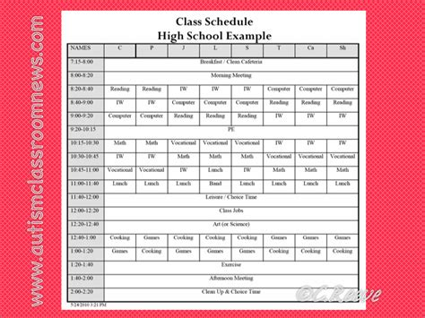 Time Management Schedule Template For High School Students by A Special Sparkle Setting Up A Secondary Life Skills Class