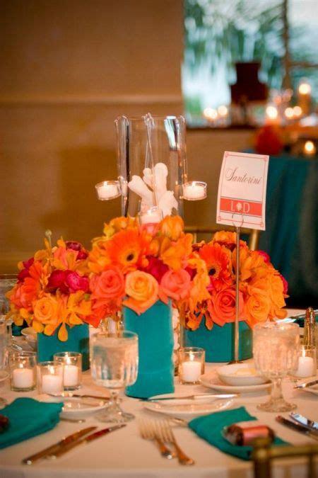 orange and teal reception wedding flowers wedding decor wedding flower centerpiece wedding