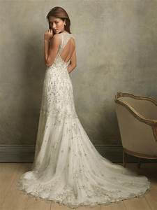 vintage sleeveless wedding dress with open backcherry With classic and elegant wedding dresses
