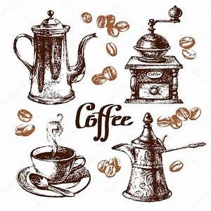 Hand drawn sketch vintage coffee set Stock Vector © pimonova #56711851