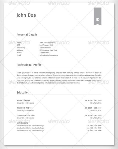 Best Resume Template Photoshop by 25 Best Simple Photoshop Indesign Resume Templates Web Graphic Design Bashooka